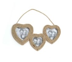 Triple heart rope effect photo frame, great for showing off your lovely memories. One of our many heart decor items from www.orchardlayne.co.uk