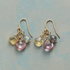 "ONE TWO TRIO EARRINGS -- Pink topaz, citrine and labradorite flit from French wires, each of the earrings' gems punctuating a 14kt gold-filled twist with its very own hue. Sundance exclusive handcrafted in USA. Approx. 1""L."