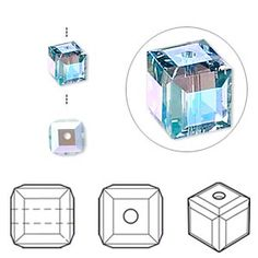 Bead, Swarovski crystal, Crystal Passions, aquamarine AB, 6x6mm faceted cube (5601). Sold per pkg of 6.