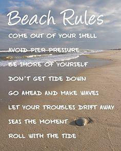 Quote Wall, Wall Art Quotes, Beach Rules, Beach Signs, Lake Signs, Best Friend Poems, Coastal Wall Art, Beach Wall Art, Coastal Decor