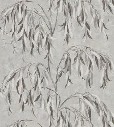 A painterly impression of a Japanese weeping willow is printed onto a textural ground, reminiscent of time-worn plaster. Extra wide: call for quantity advice. Silver Wallpaper, Geometric Wallpaper, Zoffany Wallpaper, Weeping Willow, Wallpaper Online, Designer Wallpaper, Decorative Accessories, Tapestry, Songs