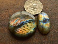 2 Pcs Natural Blue Fire Flash Labradorite Smooth Cabochon Jewelry Gemstone#156 #Thegemshop