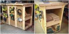 Wood Shop Workbench with Built-in Wood Storage FREE BUILDING PLANS {The Sawdust Maker}
