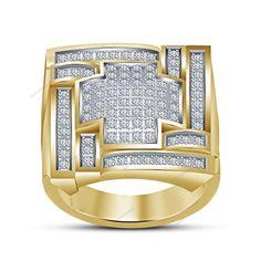 New Style 14K Yellow Gold Finish 925 Silve D/VVS1 Diamond Men's Wedding Ring    #Bacio2jewel #MensWeddingBand #WeddingEngagementAnniversaryGift