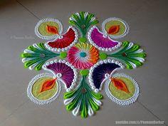 Easy diya rangoli for diwali Easy Rangoli Designs Diwali, Rangoli Designs Latest, Simple Rangoli Designs Images, Rangoli Designs Flower, Free Hand Rangoli Design, Small Rangoli Design, Rangoli Border Designs, Rangoli Ideas, Rangoli Designs With Dots