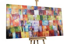 Ölmalerei - Öl Gemälde 'ABSTRAKT QUADRATE XXL' handgemalt - ein Designerstück von KUNSTLOFT bei DaWanda