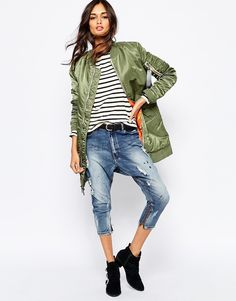 Image 4 ofAlpha Industries Ma1 Long Line Bomber Jacket With Contrast Lining