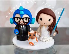 Megaman and bride can be customised however you like. Base is diameter Wedding Cake Toppers, Wedding Cakes, Star Wars Cake Toppers, Yoshi, Star Cakes, Joker And Harley Quinn, Smurfs, Our Wedding, Bride