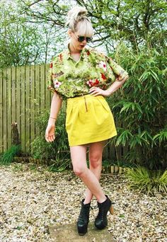 Tropical Shirt with cute yellow mini skirt