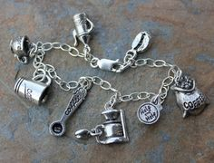 Coffee Lover Charm Bracelet - pewter charms on sterling silver chain e3916e65f7e48