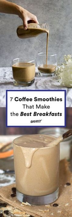 Despite our best intentions, mornings aren't always as smooth and zen as we'd like. Luckily, there's a little trick that will keep you from having to chug your coffee before rushing out the door. On the mornings you're really frazzled, make a coffee smoothie. When a healthy breakfast and your a.m. energy boost are combined, there's one less thing on your to-do list. It won't magicallymake you a morning person, but hey, it could help. Coffee Beans, Healthy Desserts, Chips, Smoothies, Fries, Smoothie, French Fries, Fruit Shakes, Cocktails