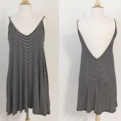 Adorable! Navy And White Striped Dress Low V Back
