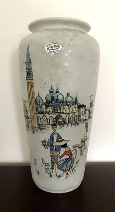 West German Pottery Vase Jasba Form 127/23 mit Bild von Venedig 50er od. 60er | eBay