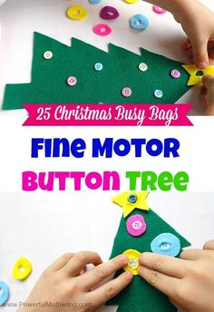 Fine Motor Button Tree - Christmas Busy Bags or would be a good quiet book page Quiet Time Activities, Motor Activities, Christmas Activities, Toddler Activities, Preschool Activities, Preschool Christmas, Christmas Crafts For Kids, Christmas Themes, Christmas Fun