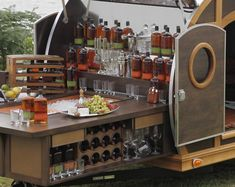 Gorgeous mobile bar to customize / stock for wedding or party! The Bulleit Frontier Whiskey Woody- Tailgate Trailer. Are you shitting me! Bulleit Bourbon, Bourbon Bar, Tailgate Bar, Tailgating, Tailgate Parties, Bagdad Cafe, Mobiles, Coffee Carts, Backyard Bar