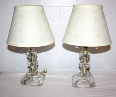 Antique Pair of Crystal Boudoir Lamps by QUEENIESECLECTIC on Etsy