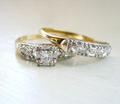 Antique Round Brilliant Diamond Engagement Ring 14kt Yellow Gold Wedding Set. via Etsy.