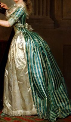 Gown and fichu detail from Self-portrait with a Harp, circa 1791, Rose-Ad茅la茂de Ducreux (1761 鈥?July 26, 1802). Note how the lace at the elbow has been folded up over the sleeve, out of the way of the harp strings for ease of play.