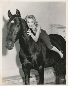 Jane Powell on a horse