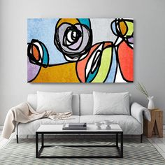 Vibrant Colorful Abstract49-4. Mid-Century Modern Blue Yellow Canvas Art Print, Mid Century Modern Canvas Art Print up to 72 by Irena Orlov Wall Art Decor for Home, Office or Hotel MIDCENTURY ABSTRACT ART With retro colors and free formed geometric shapes, all of this pieces in my