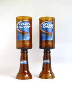 Bud Light Beer Bottle Goblet Drinking Glasses Set of by BoMoLuTra, $14.99