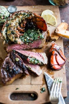 Surf and Turf- Steak and Lobster with Spicy Roasted Garlic Chimichurri Butter. A great date night dinner Wine Recipes, Beef Recipes, Cooking Recipes, Healthy Recipes, Cheese Recipes, Vegetable Recipes, Seafood Recipes, Salad Recipes, Surf And Turf