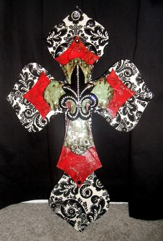 Beautiful large custom cross with print and rustic reds