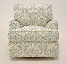 Quatrine Custom Furniture - Modern Milan Slipcovered Chair #blue #cream #damask #slipcovered #swivel #chair