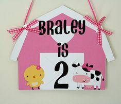 Custom Girl Farm Animal Barn Door Sign, Farm Welcome Sign, Farm birthday, first birthday, farm baby shower, barnyard birthday