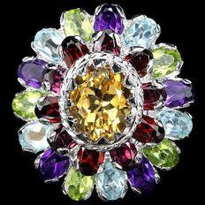 Designer Floraal Coctailring met Natuurlijke Edelstenen van 15.9 karaat Ring maat 8