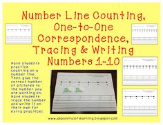 Number Line Counting, one-to-one correspondence cut/glue, Trace and Write Numbers 1-10, and a TON more number activities!