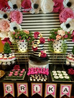 Kate Spade Themed Treat Table and Backdrop