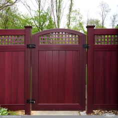 #illusionsfence VBG4-46 Mahogany Crowned PVC Vinyl Gate with Square Lattice. 4'H x 6'H. The perfect accent gate for the Mahogany Illusions Vinyl Fence PVC V3215SQ-56 Privacy Tongue and Groove Fence with Square Lattice shown in Mahogany (W101). The look of stained wood with the low maintenance of vinyl