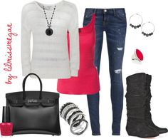 """Black, White & Pop of Color"" by lilmissmegan on Polyvore"