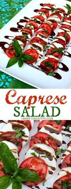 This Caprese Salad Recipe couldn't be easier and it is a great way to use up tomatoes and basil from the garden! So tasty!      OHMY-CREATIVE.COM
