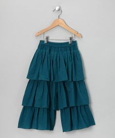 Take a look at this Teal Triple-Tier Pants - Toddler & Girls by 3 Little Stars on #zulily today!
