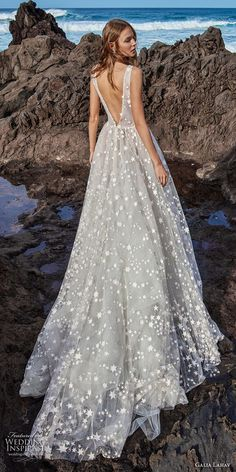 galia lahav gala 2018 bridal sleeveless deep v neck full embellishment romantic a line wedding dress open v back chapel train (4) bv