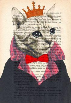 Pinturas acrílicas ilustración Original impresiones dibujo Giclee carteles mixta colgante de pared arte decoración de la pared: el rey de gato Original