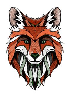 Fox // Colored Art Print by Andreas Preis