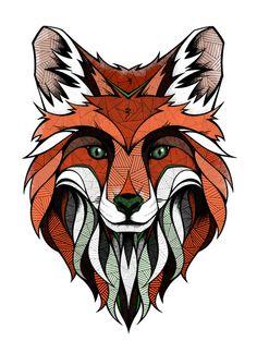 Fox // Colored Art Print by Andreas Preis