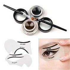 Tinabless 2 en 1 Marron et Noir Imperméable Gel Eyeliners Set avec Maquillage Sourcils Brosse + Cat Yeux Liner Stencil