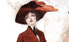1910 Fashion accessory - a hat - used to shade women from the sun, but also for the style and beauty of the object.  A beautiful color fashion plate from 1911 of two women wearing a red suit and aqua dress with a fur coat.