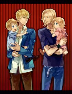 England and America and France and Canada I think?<<.. •-• it's the FACE family (France America Canada England)