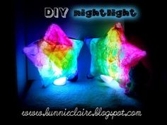 This is a tutorial on how to make your own nightlight for you or your kiddos! ;)    I use a balloon, tissue paper, paper mache glue, & LED tea lights      www.bunnieclaire.blogspot.com  LETS BE INSTAGRAM FRIENDS: SHESCLAiiRE