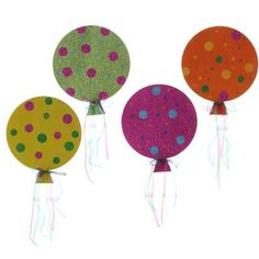 RAZ Balloon Ornaments     4 Assorted Multicolored       Set of 4       Orange, Pink, Yellow, Green balloon decorated with multicolored polka dots       Made of Glittered Heavy