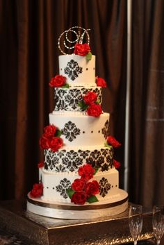 brown and red damask wedding cake by Shelby Lynn's on Details Weddings & Events blog