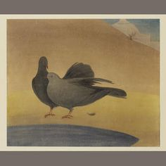 Abdur Rahman Chughtai (Pakistan, 1897-1975)   Pigeons on a mosque roof