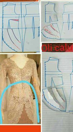 Batik Fashion, Fashion Sewing, T Shirt Sewing Pattern, Kebaya Dress, Mode Abaya, Gown Pattern, Dress Making Patterns, Sewing Clothes, Pattern Fashion