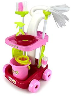 Velocity Toys Little Helper Cleaning Trolley Cart '35' Children's Kid's Pretend Play Toy Cleaning Play Set w/ Cart, Broom, Mop, Bucket, Dust Pan, Brush, Mock Soap Bar and Spray Bottle, Bowl >>> Click image to review more details.