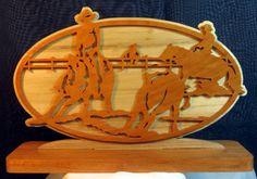 Scrollsaw Art Western Scene  Cowboy  Calf  Roping by susanandlarry, $20.00